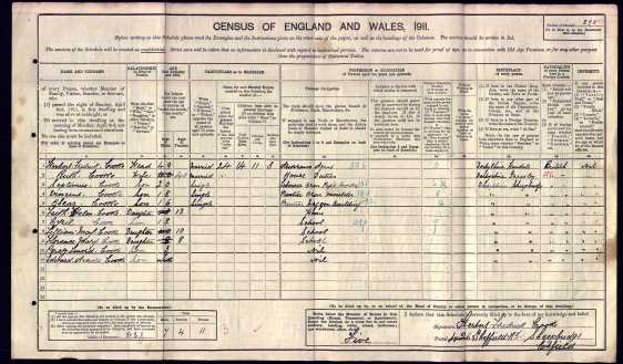 Reference 171 - 1911 Census Extract (Sheepbridge Chesterfield Derbyshire)