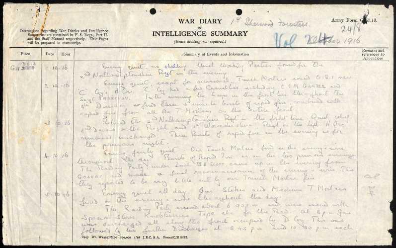 1st war diary