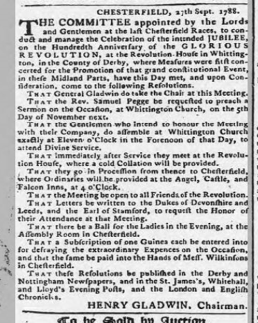 derbys mercury 2 oct 1788revolution house 100 year celebration
