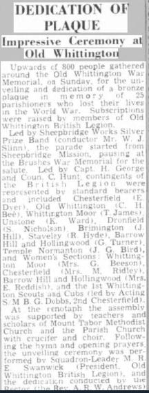 dedicat of plaque 21 july 1950 dtime ches herald